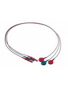 Kabel do elektrod EMG do aparatów Laborie, nieekranowany odprowadzenia: 2 czerwone, 1 zielone